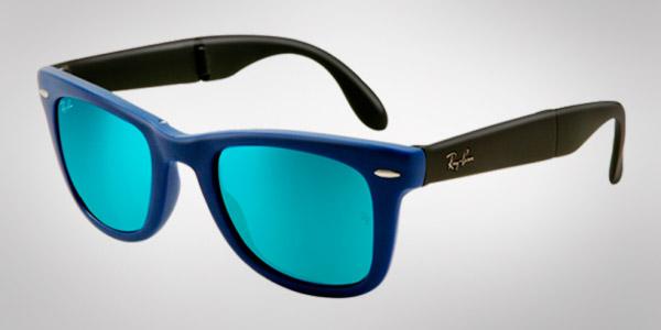 ray ban negras con cristales azules